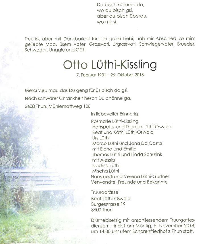 Otto Lüthi - Todesanzeige